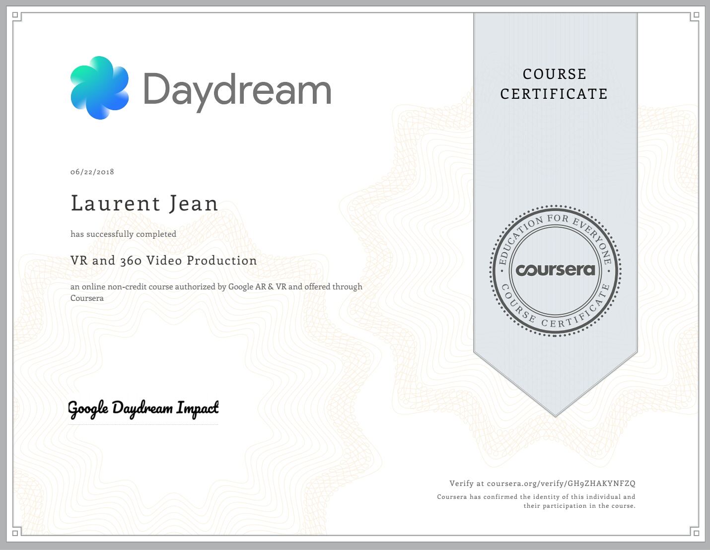 certification video360 VR google daydream